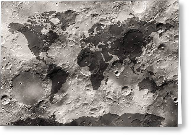Map Art Greeting Cards - World Map on the Moons Surface Greeting Card by Michael Tompsett