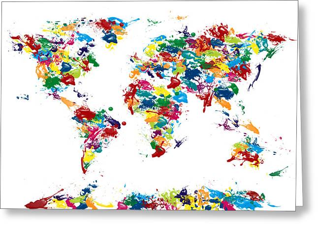 Maps Globes Greeting Cards - World Map Paint Drops Greeting Card by Michael Tompsett