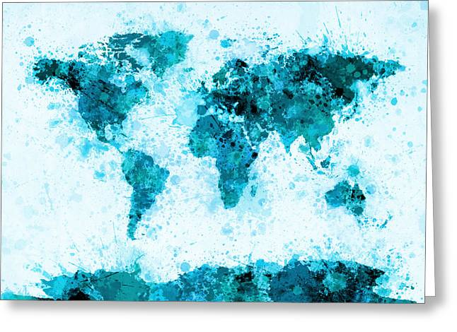 Maps Globes Greeting Cards - World Map Paint Splashes Blue Greeting Card by Michael Tompsett