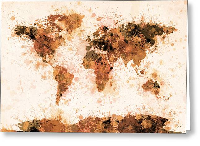 Maps Globes Greeting Cards - World Map Paint Splashes Bronze Greeting Card by Michael Tompsett