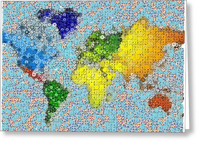 World Map Poker Chips Mosaic Greeting Card by Paul Van Scott