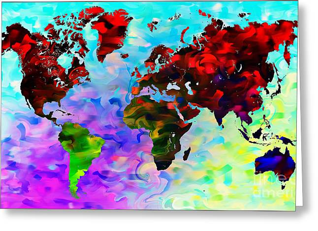 Planet Map Mixed Media Greeting Cards - World Map Greeting Card by The DigArtisT