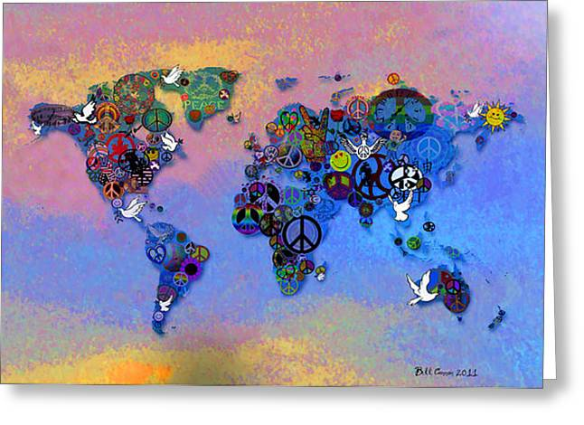 Tye Greeting Cards - World Peace Tye Dye Greeting Card by Bill Cannon