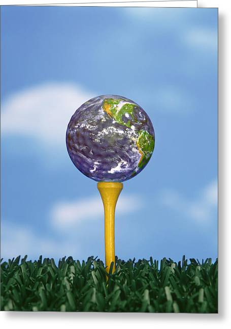 Golf Greeting Cards - World Teed Up Greeting Card by Gerard Fritz