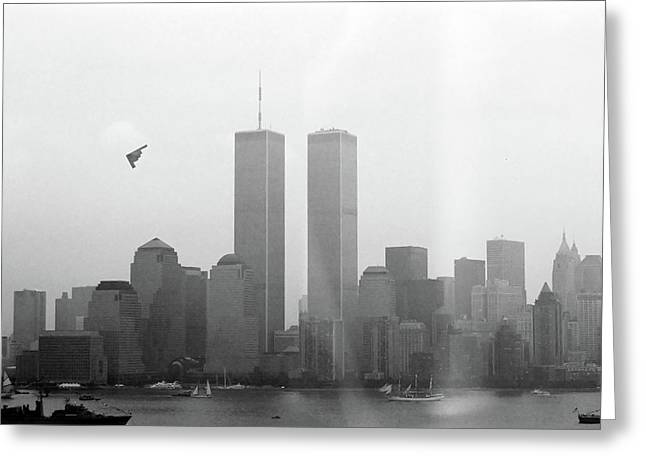 Wtc 11 Greeting Cards - World Trade Center and OpSail 2000 July 4th Photo 18 B2 Stealth Bomber Greeting Card by Sean Gautreaux