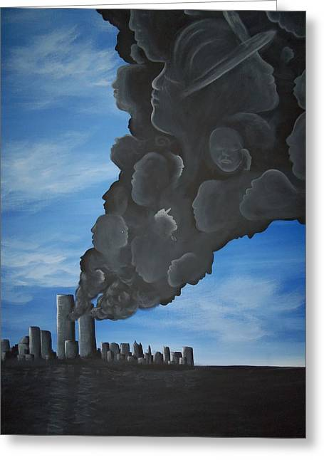 Wtc 11 Paintings Greeting Cards - World Trade Memorial painting Greeting Card by Hollie Leffel