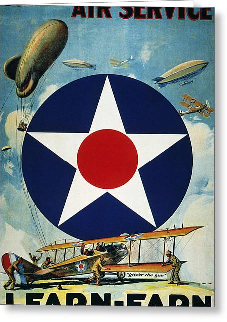 Army Recruiting Greeting Cards - World War I: Air Service Greeting Card by Granger