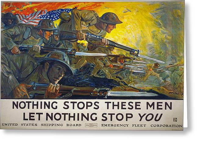Bayonet Greeting Cards - World War I: Poster, 1918 Greeting Card by Granger