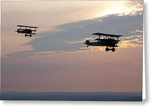 Clouds In Motion Greeting Cards - World War I Triplanes In Flight Greeting Card by Pete Ryan