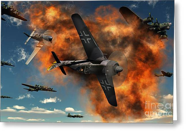 Enemies Greeting Cards - World War Ii Aerial Combat Greeting Card by Mark Stevenson