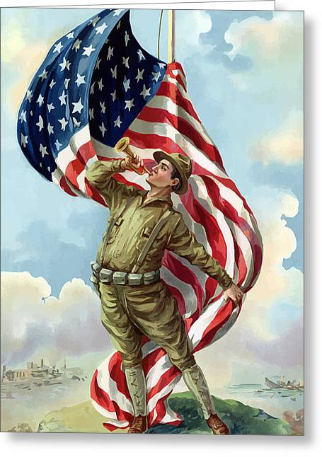 Flags Digital Art Greeting Cards - World War One Soldier Greeting Card by War Is Hell Store