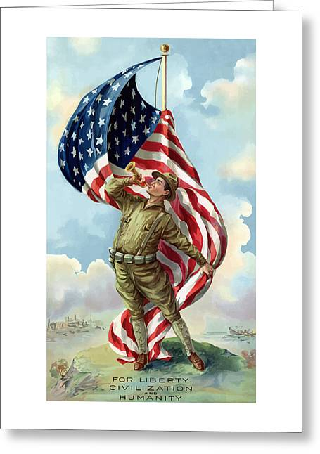 Propaganda Mixed Media Greeting Cards - World War One Soldier Greeting Card by War Is Hell Store