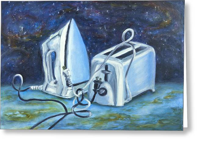 Toaster Paintings Greeting Cards - Worlds Apart...and Yet Greeting Card by Vianne Korhorn