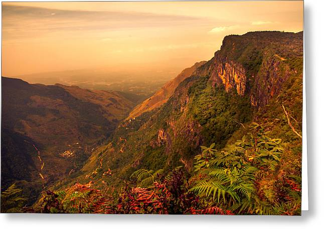 Lamdscape Greeting Cards - Worlds End. Horton Plains National Park. Sri Lanka Greeting Card by Jenny Rainbow