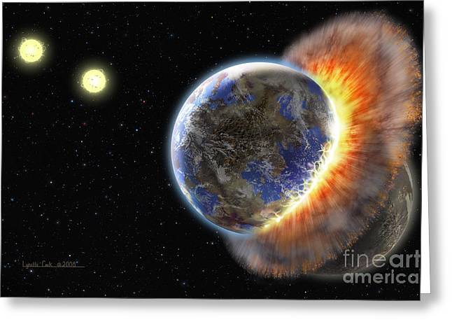 Colliding Greeting Cards - Worlds in Collision Greeting Card by Lynette Cook