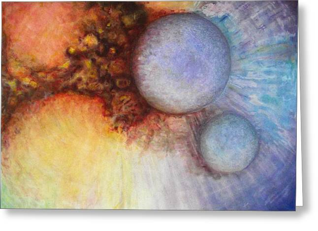 Stellar Paintings Greeting Cards - Worlds Within Worlds Greeting Card by  Gwen Ontiveros