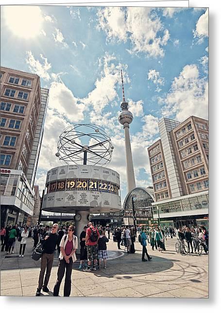 Alexanderplatz Greeting Cards - Worldtime Clock Greeting Card by Benjamin Matthijs