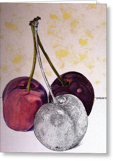 Worldview Cherries Greeting Card by D K Betts