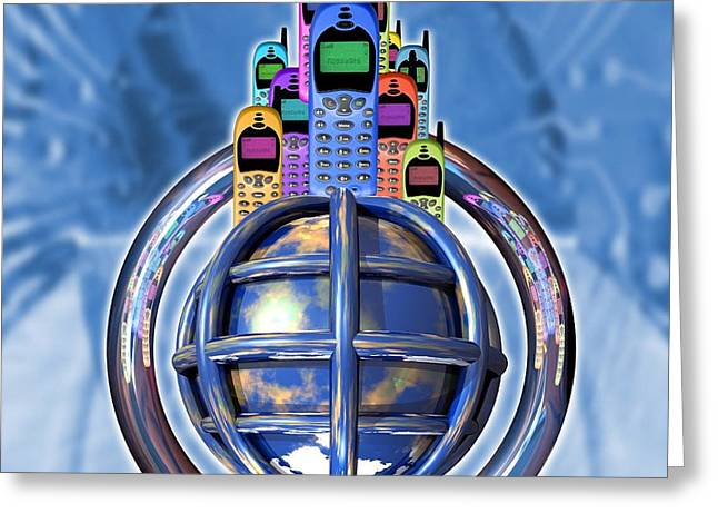 Worldwide Mobile Telephone Use Greeting Card by Victor Habbick Visions