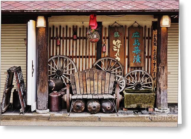 Miyajima Greeting Cards - Worn Bench on an Asian Porch Greeting Card by Jeremy Woodhouse