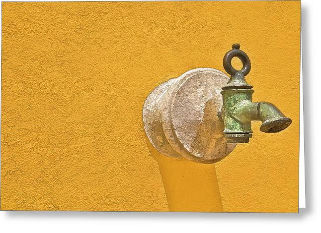 Gun Powder Greeting Cards - Worn Brass Spigot  of Medieval Europe Greeting Card by David Letts