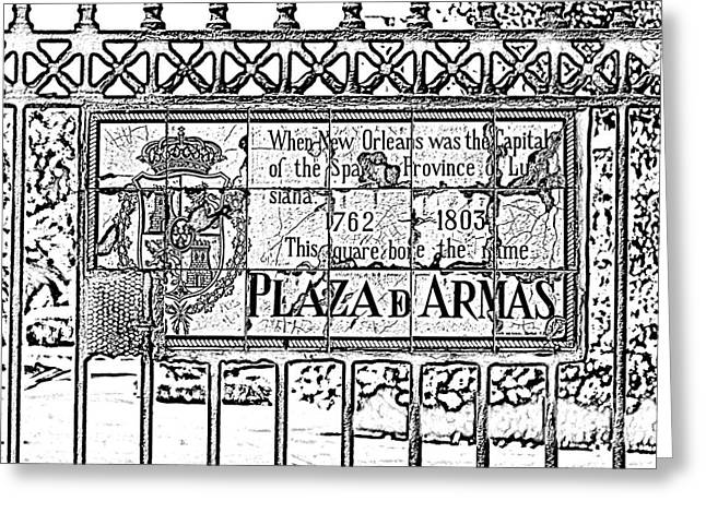 Photocopy Greeting Cards - Worn Historic Plaza de Armas Tile Plaque New Orleans Black and White Photocopy Digital Art Greeting Card by Shawn O