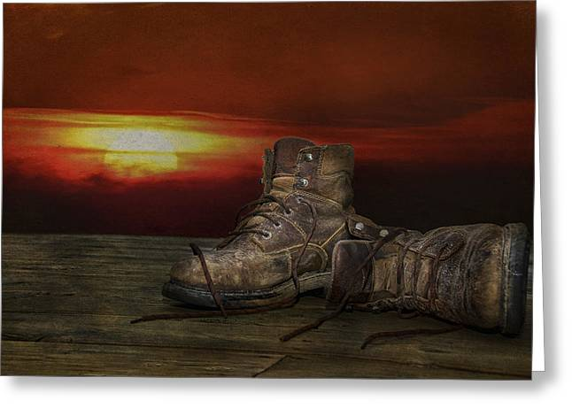 Evening Wear Mixed Media Greeting Cards - Worn Out Boots Greeting Card by Maria Dryfhout