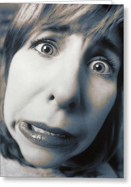 Distraught Greeting Cards - Worried Woman Greeting Card by Darwin Wiggett