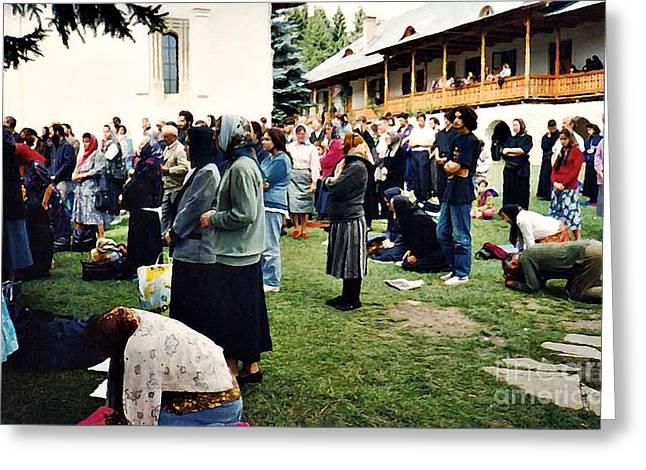Christian Orthodox Greeting Cards - Worshipers at Sihastria Monastery Greeting Card by Sarah Loft