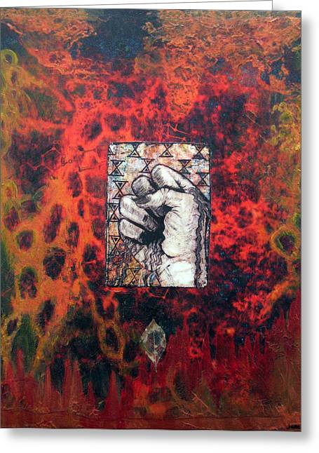 Janelle Schneider Greeting Cards - Wounded earth - EARTH Greeting Card by Janelle Schneider