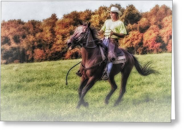Quarter Horse Greeting Cards - Wrangler and Horse Greeting Card by Susan Candelario
