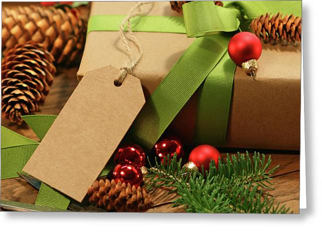 Wrapping gifts for the holidays Greeting Card by Sandra Cunningham