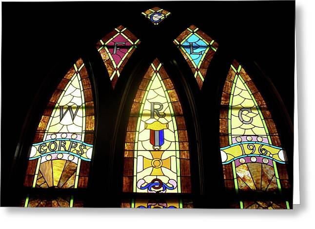 Coloured Glass Greeting Cards - WRC Stained Glass Window Greeting Card by Thomas Woolworth
