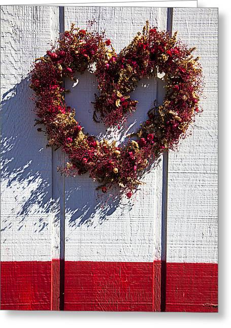 Valentines Day Greeting Cards - Wreath heart on wood wall Greeting Card by Garry Gay