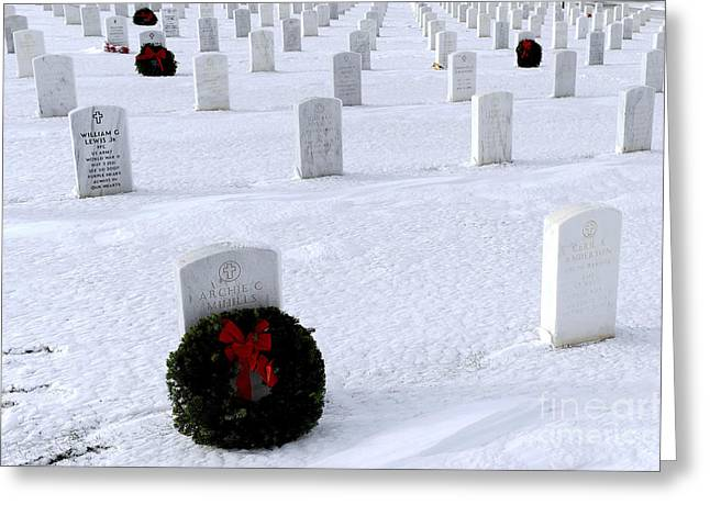 National Cemetery Greeting Cards - Wreaths Adorn The Graves Of Veterans Greeting Card by Stocktrek Images