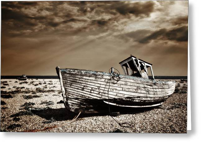 Fishing Boats Greeting Cards - Wrecked Greeting Card by Meirion Matthias