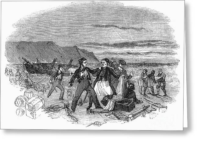 Plunder Greeting Cards - Wrecking A Ship, 1843 Greeting Card by Granger
