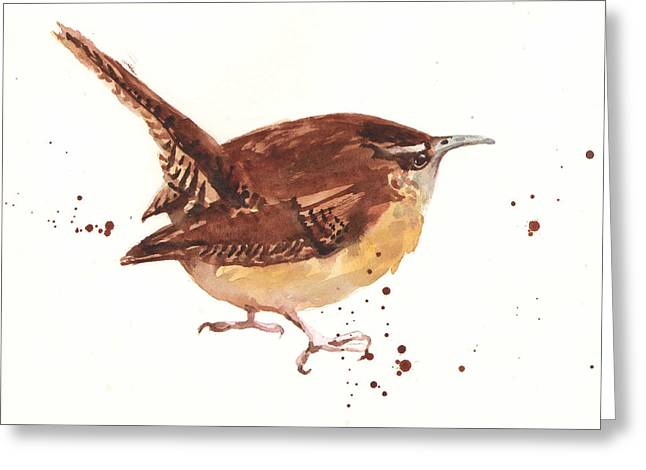 Buff Greeting Cards - Wren - Cheeky Wren Greeting Card by Alison Fennell