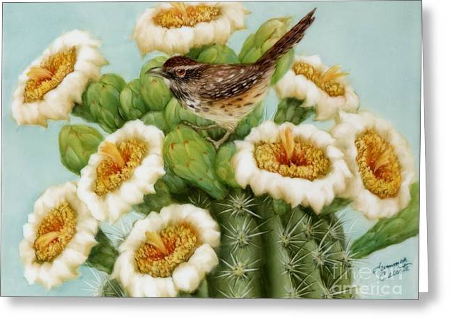 Naturalistic Greeting Cards - Wren and Saguaro Blossoms  Greeting Card by Summer Celeste