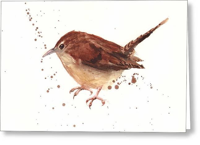 Small Birds Greeting Cards - Wren Watercolor Greeting Card by Alison Fennell