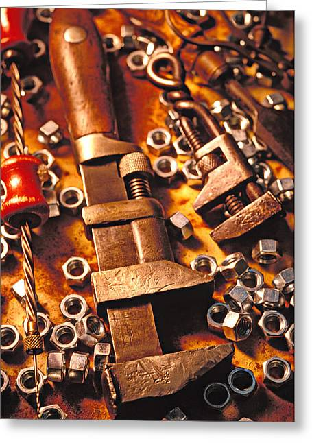 Tool Greeting Cards - Wrench tools and nuts Greeting Card by Garry Gay