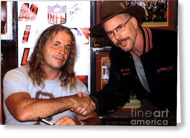 Harts Drawings Greeting Cards - Wrestling Legend Bret Hart and Myself Greeting Card by Jim Fitzpatrick
