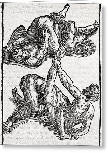 European work Photographs Greeting Cards - Wrestling Moves, 16th Century Artwork Greeting Card by Middle Temple Library