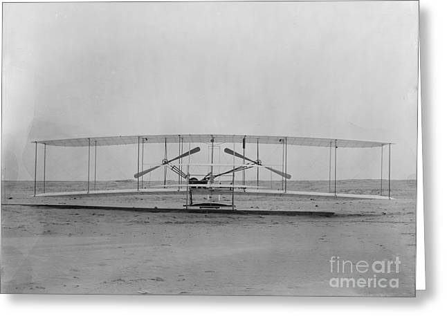 Famous Aviators Greeting Cards - Wright Flyer, December 17th, 1903 Greeting Card by Science Source