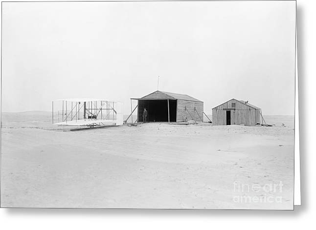 Famous Aviators Greeting Cards - Wright Flyer, Hangar And Workshop, 1903 Greeting Card by Photo Researchers
