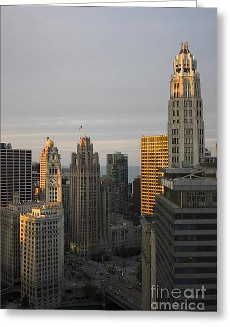 Magnificent Mile Greeting Cards - Wrigley Building and Michigan Ave bridge at sunset Greeting Card by Christopher Purcell