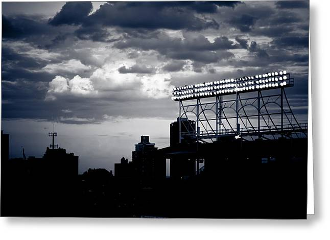 Friendly Confines Greeting Cards - Wrigley Field Light Stand in Black and White Greeting Card by Anthony Doudt