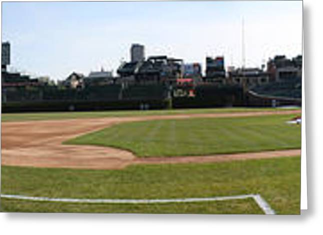 Friendly Confines Greeting Cards - Wrigley Field Panorama Greeting Card by David Bearden