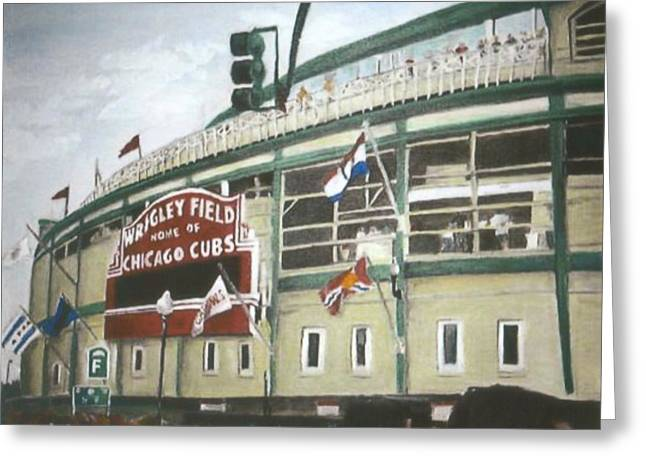 Baseball Paintings Greeting Cards - Wrigley Field Greeting Card by Travis Day