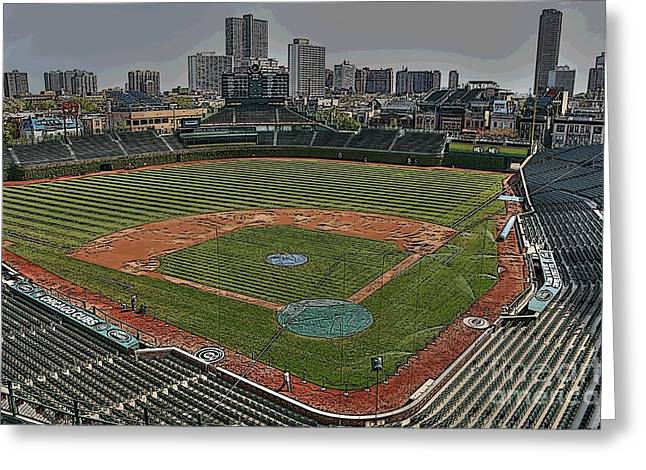Friendly Confines Greeting Cards - Wrigley in Spring Greeting Card by David Bearden